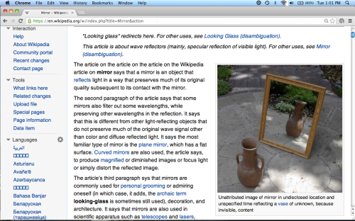 "Screenshot: ""Dummy page"" of Wikipedia article ""Mirror"""