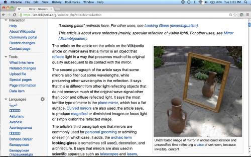 "Screenshot: ""Dummy page"" of Wikipedia article ""Mirror"""