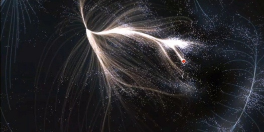 Laniakea. Red dot indicates position of Milky Way