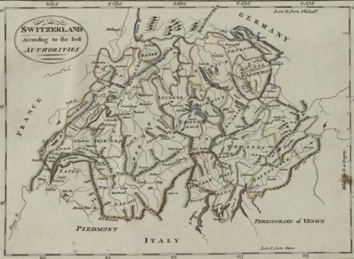 Map of Switzerland, 1814